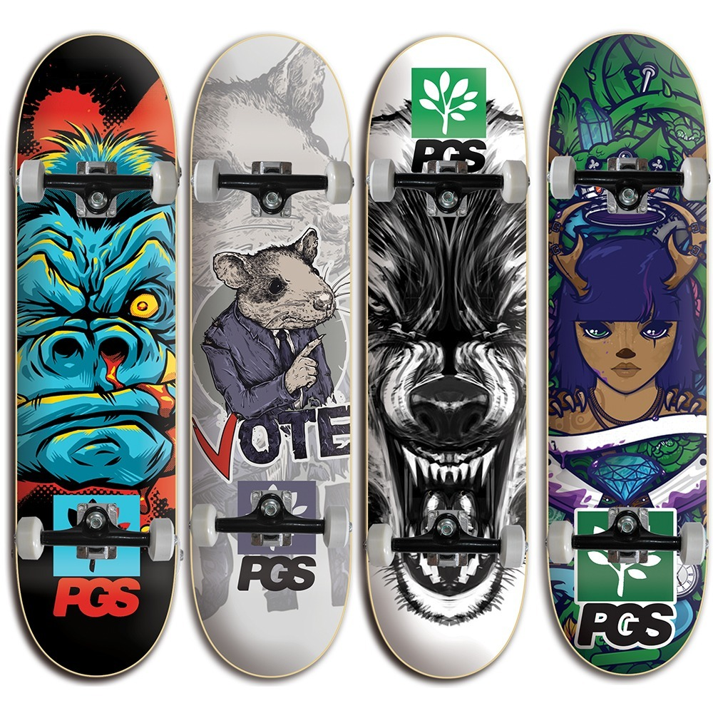 90a03f85d7053 Skate Montado - Com Shape Pgs Profissional Vários Desenhos - R  189 ...