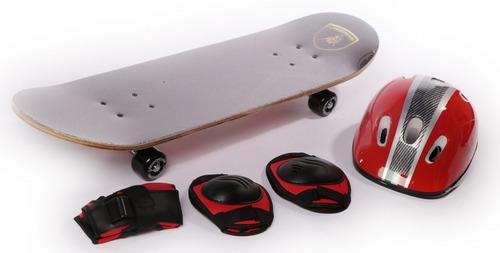 skate patineta lamborghini set proteccion