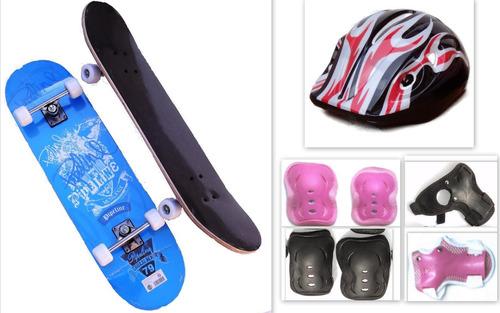 skate patineta + muñequeras + coderas + rodilleras + casco