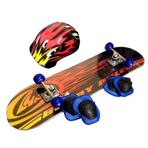 skate patineta tabla 78x 20cm casco y protecciones fiestacl