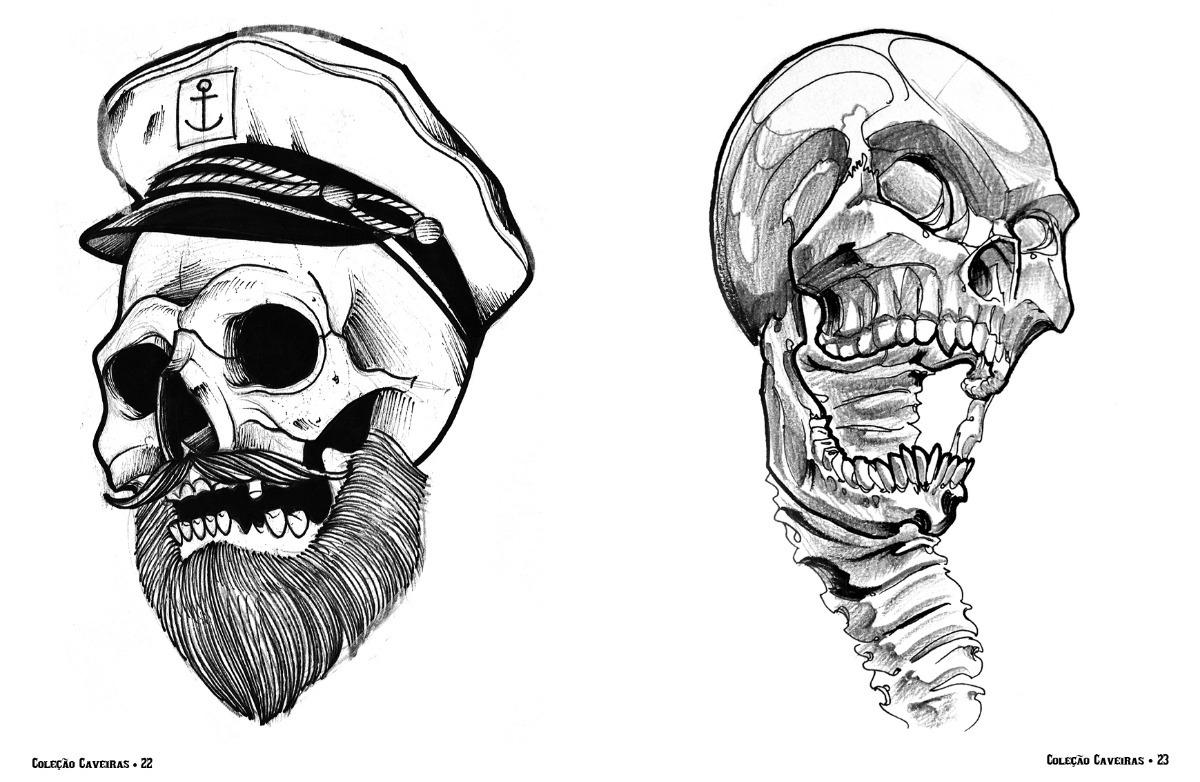 Sketchbook Desenhos Caveiras Para Tatuagem 100 Pags R 69 90