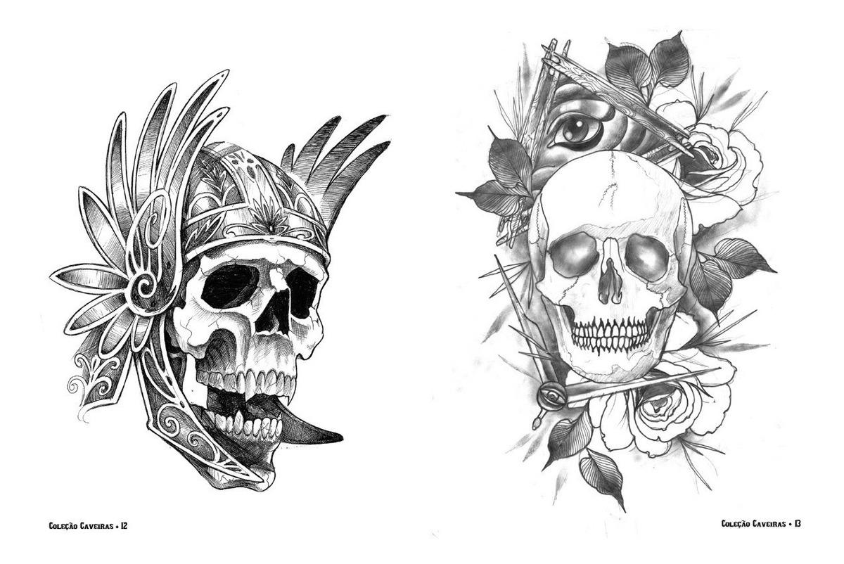 Sketchbook Desenhos Caveiras Para Tatuagem Pronta Entrega R