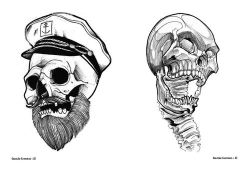 sketchbook desenhos para tatuagem - caveiras - 100 páginas