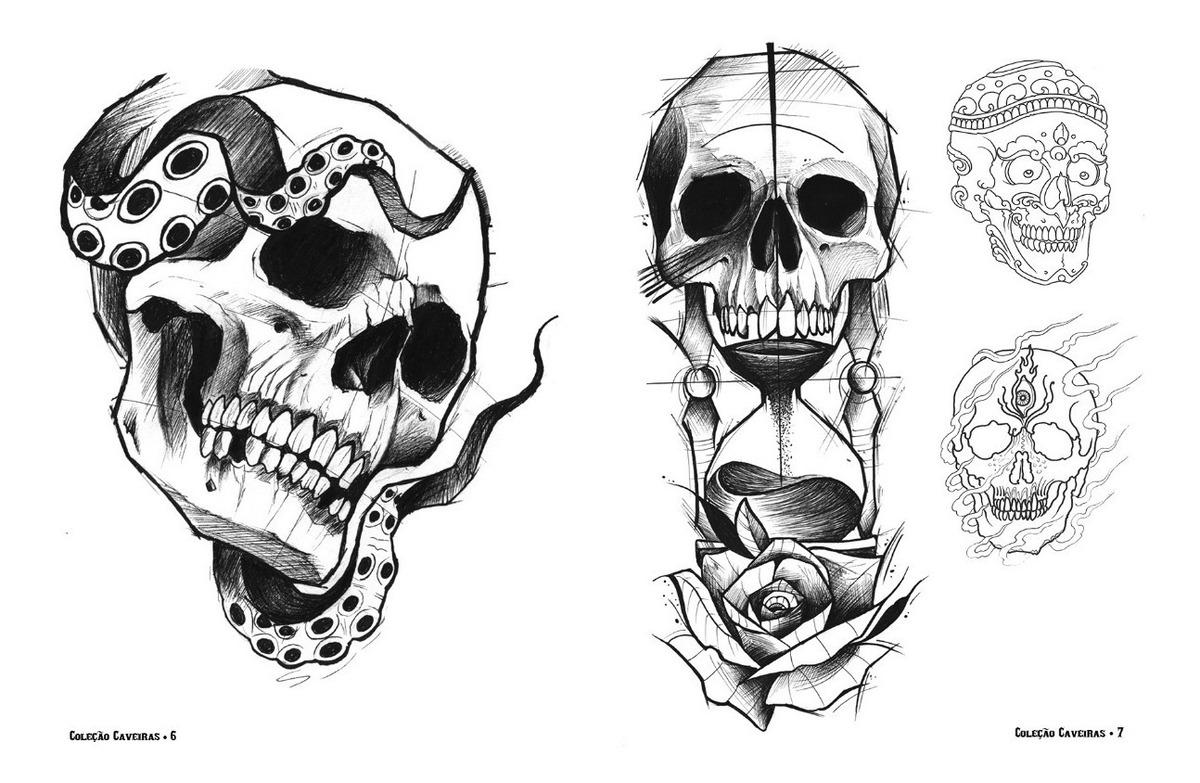 Sketchbook Desenhos Para Tatuagem Caveiras 100 Paginas R 69