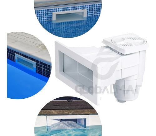 skimmer boca larga abs branco de piscinas de vinil e fibra