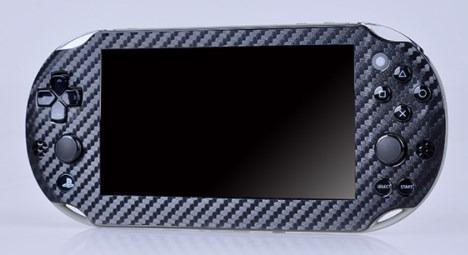 Skin Adesivo Modelo Fibra De Carbono Preto Para Psvita 2000