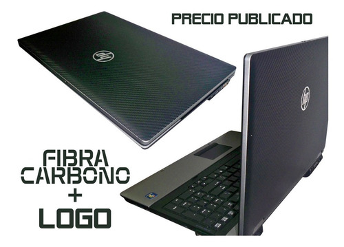 skin fibra carbono logo plateado rotulado laptops