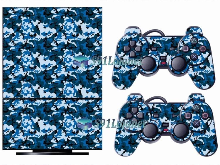 5bad03a668218 Skin Ps2 Playstation 2 Original Adesivo Camuflado Azul - R  29