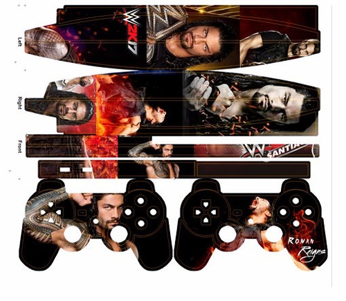 skin ps3 slim wwe (1)  consola+2 skins controles