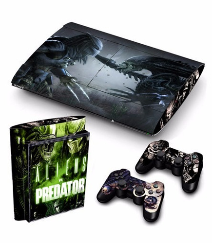 skin ps3 super slim alien vs depred.(1) consola+2 controles