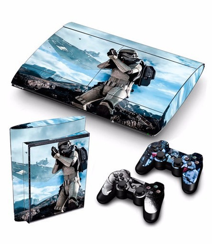 skin ps3 super slim star wars consola+2 skins controles pers