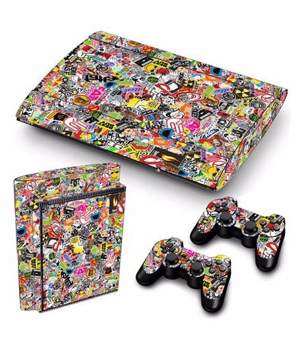 skin ps3 super slim sticker bomb consola+2 skins controles