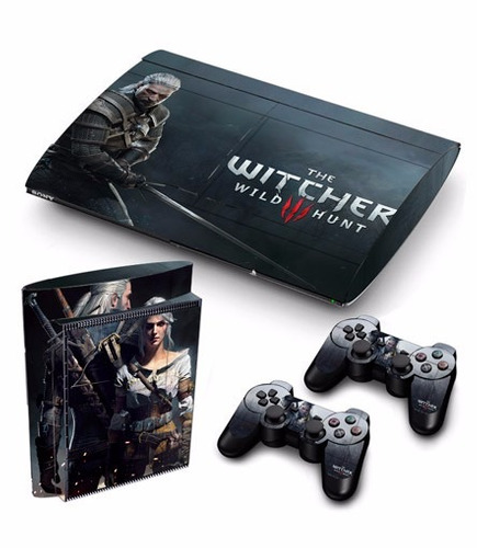 skin ps3 super slim witcher (1) consola+2 skins controles