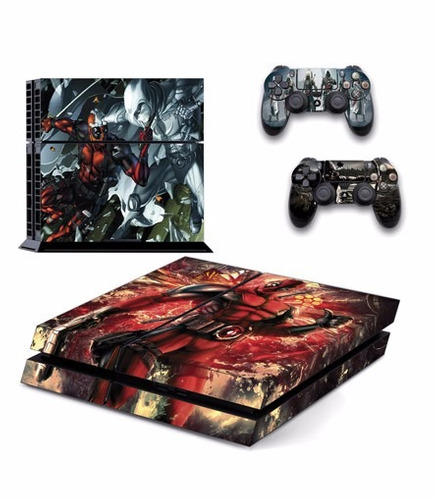skin ps4 deadpool (4) consola+2 skins controles