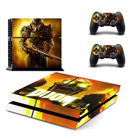 skin ps4 doom (1) consola+2 skins controles