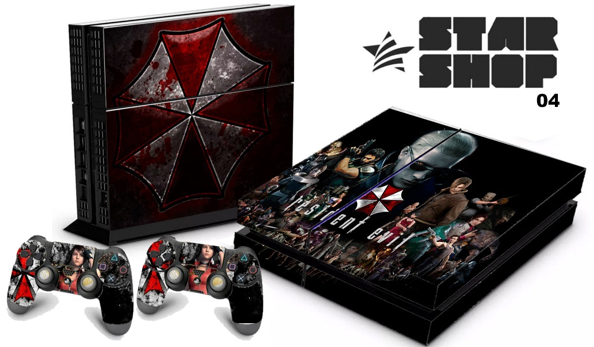7b225f5f76 skin ps4 fat adesivo playstation 4 resident evil umbrella. Carregando zoom.