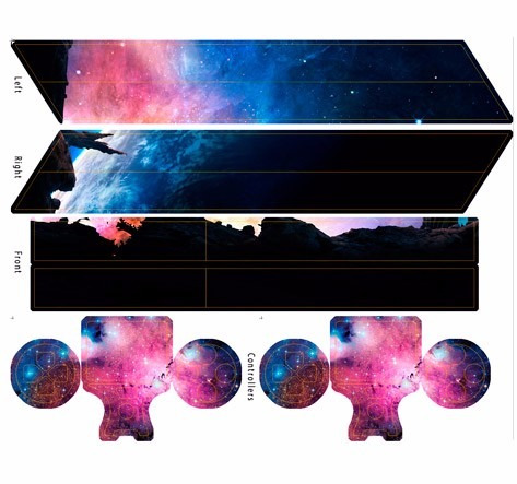 skin ps4 galaxy (1) consola+2 skins controles