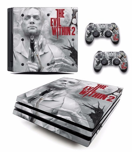 skin ps4 pro evil winthin (1) consola+2 skins controles