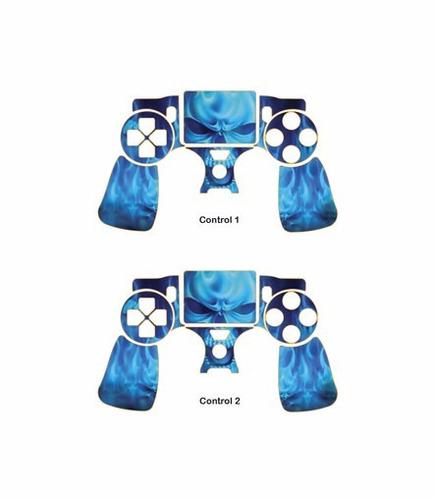 skin ps4 slim blue skulls (2) consola+2 skins controles