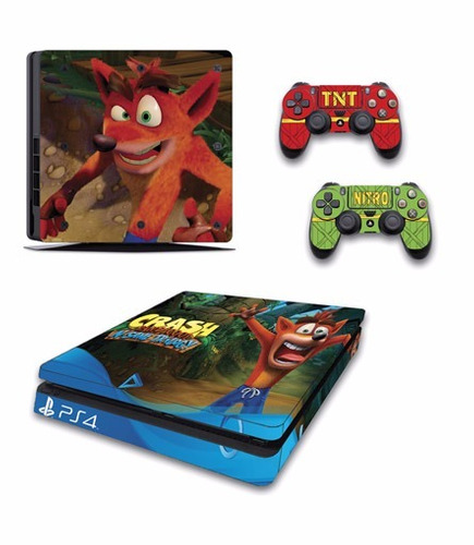 skin ps4 slim crash bandicoot (3) consola+2 skins controles