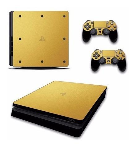 skin ps4 slim dorado (348) consola+2 skins controles