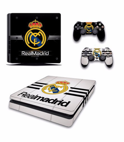 skin ps4 slim real madrid (1) consola+2 skins controles