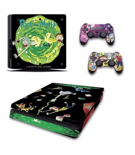 skin ps4 slim rick and morty consola+2 skins controles