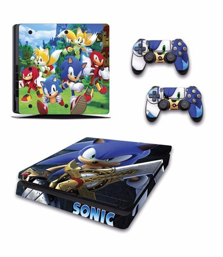 skin ps4 slim sonic (1) consola+2 skins controles
