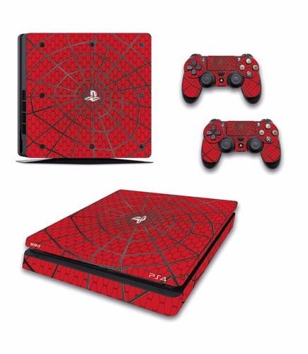 skin ps4 slim spiderman (1) consola+2 skin controles