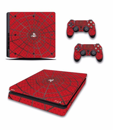 skin ps4 slim spiderman (3) consola+2 skins controles