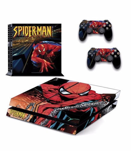 skin ps4 spiderman (3) consola+2 skins controles