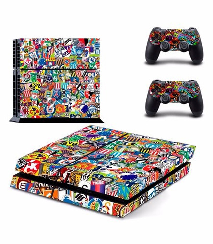 skin ps4 sticker bomb (2) consola+2 skins controles
