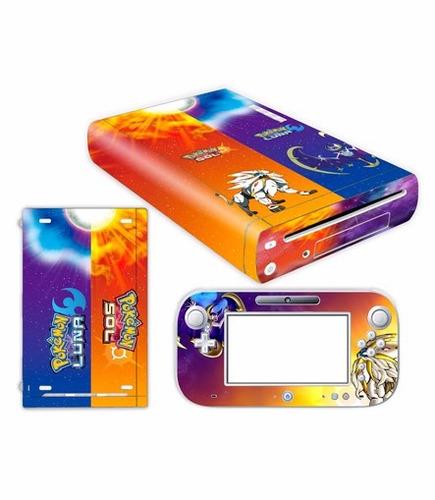 skin wii u sol y luna consola+1 skin gamepad personalizado