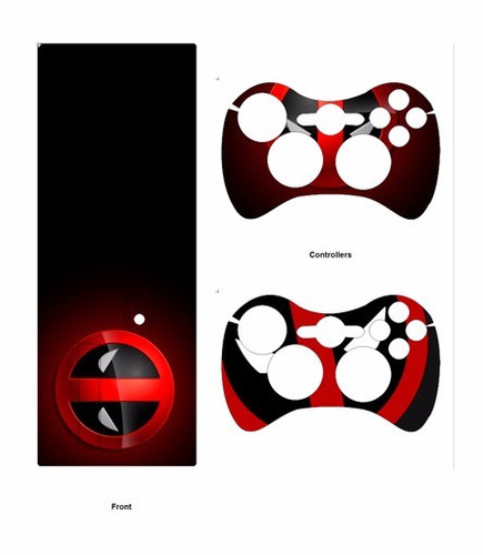 skin xbox 360 e deadpool (2) consola+2 skins controles