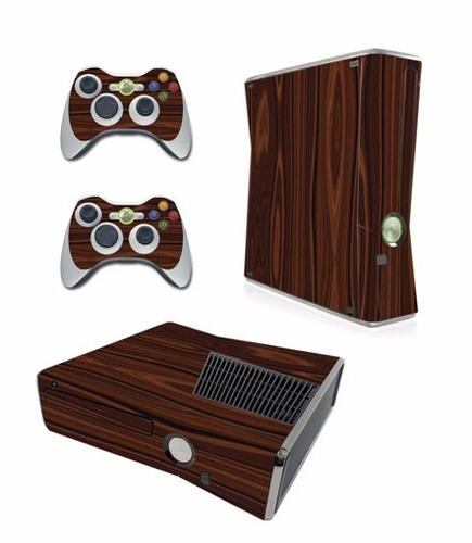 skin xbox 360 slim madera consola+2 skins controles person