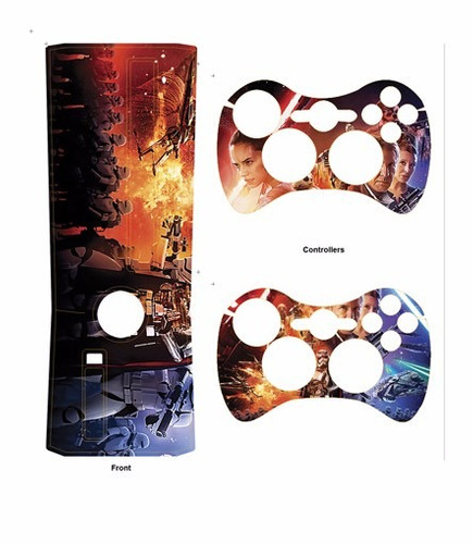 skin xbox 360 slim star wars consola+2 skins controles pers