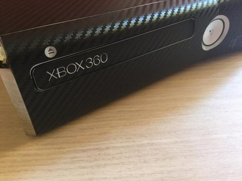 skin xbox  360 slim tipo fibra carbon negro