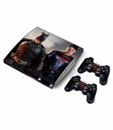skins ps3 slim batman vs superman consola+2 controles person