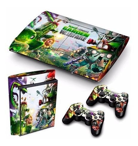 skins ps3 super slim zombies & plants consola+ 2 controles