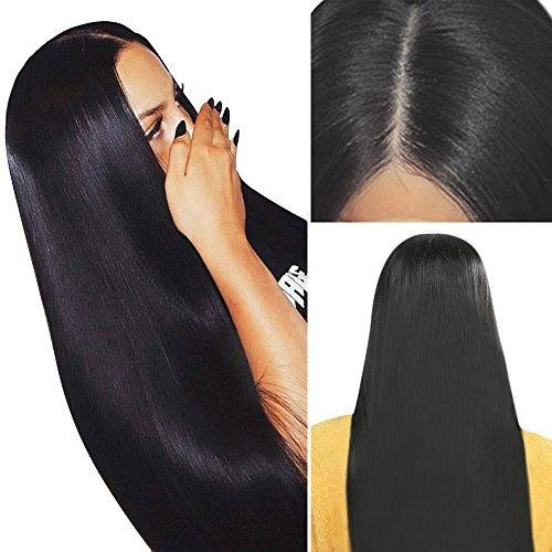 skm natural negro larga recta peluca 30 pulgadas lado medio