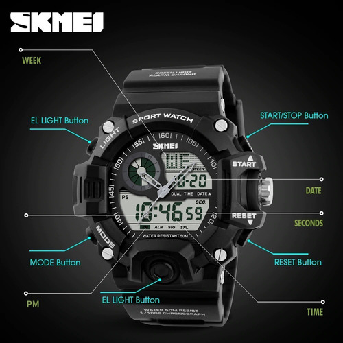 skmei 1029 reloj deportivo analogico digital sumergible
