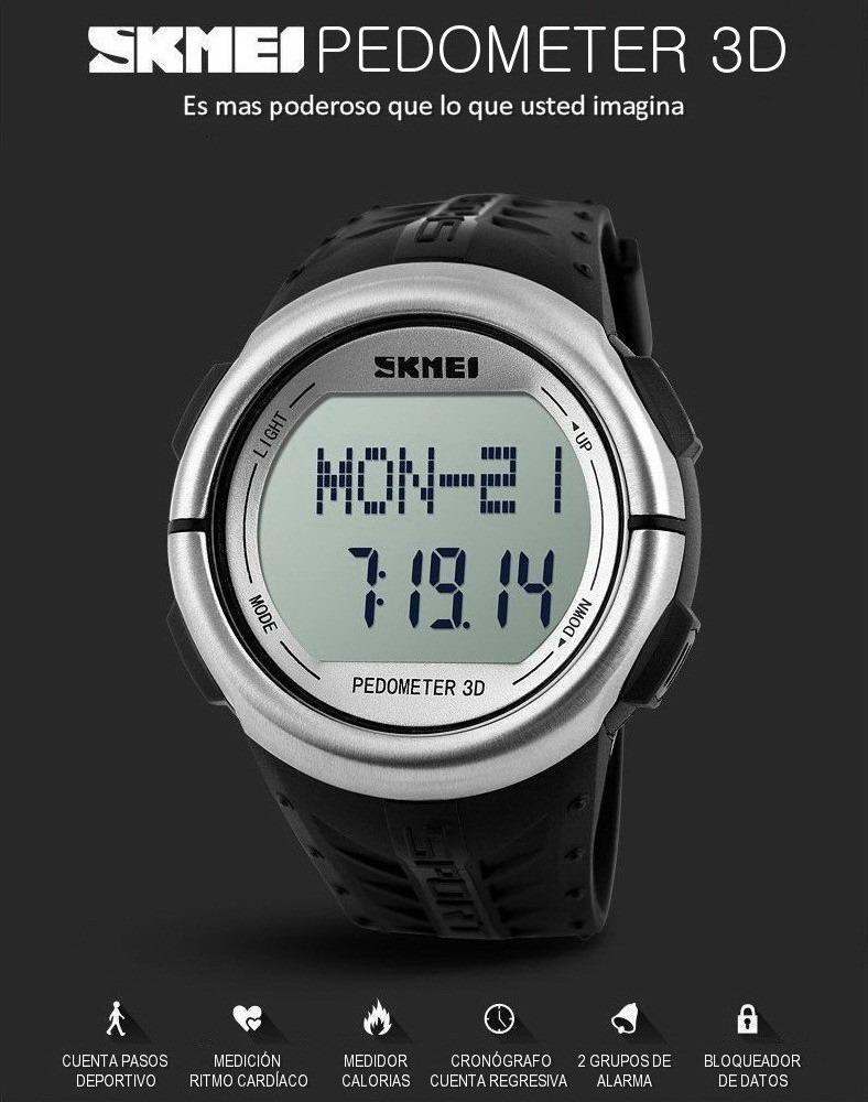 856babaddb21 Skmei 1058 Pulsometro cuentapasos calorías sumergible Alarm -   1.758