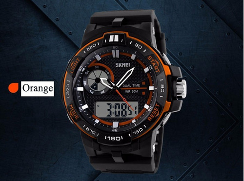skmei 1070 tático militar original laranja # casio timex #