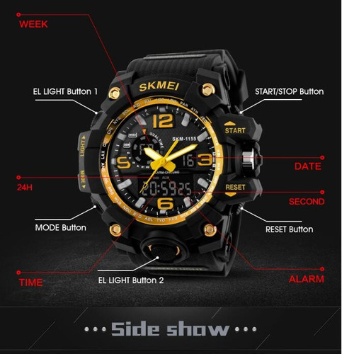 skmei 1155 s shock militar tático (# g-shock casio timex)