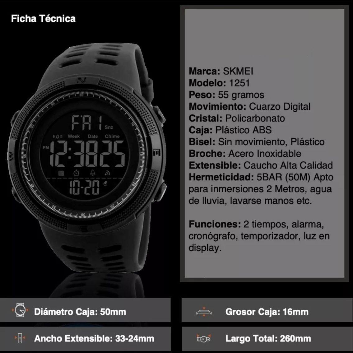 3767fdbf04e1 skmei 1251 reloj hombre deportivo digital sumergible 50 m. Cargando zoom.