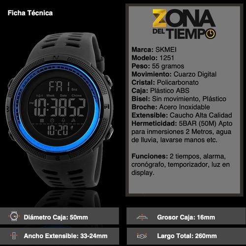 skmei 1251 reloj hombre deportivo digital sumergible 50 m