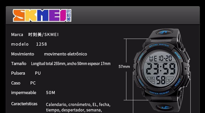 2a7d7a2e6965 Skmei 1258 Reloj Digital Acuático . Azul - S  60