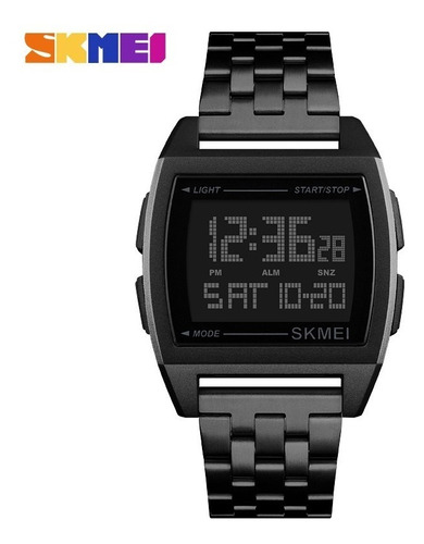 skmei homens inteligente relógio moda preto