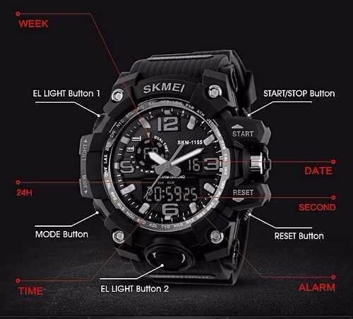 2364da6d7d3 Skmei Relógio Original Modelo 1155 Prova D água E Impactos - R  79 ...