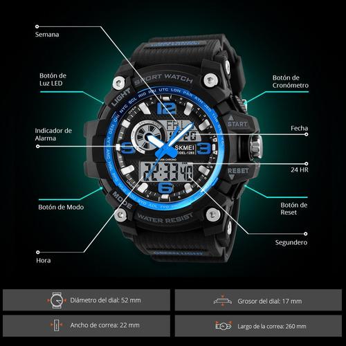 skmei reloj digital y análogo led contra agua grande 1283